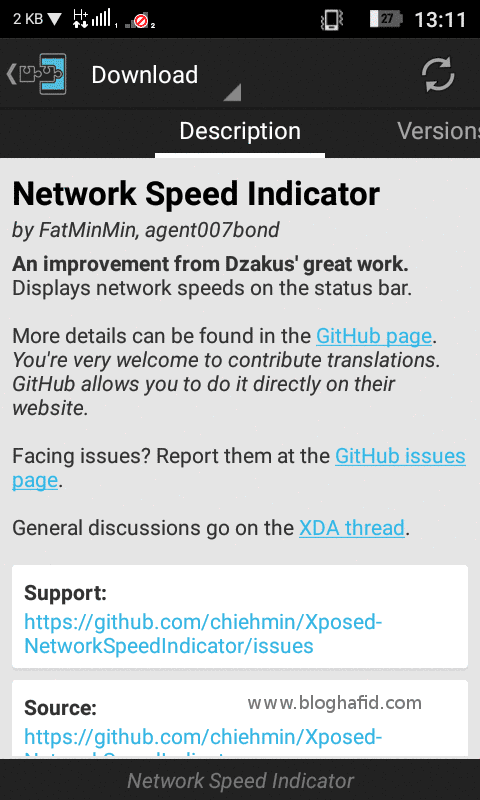 Module Xposed Network Speed Indicator