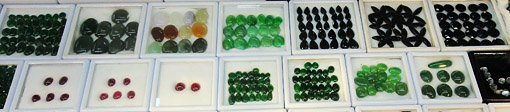 Burmese cabochon products from different colored jade