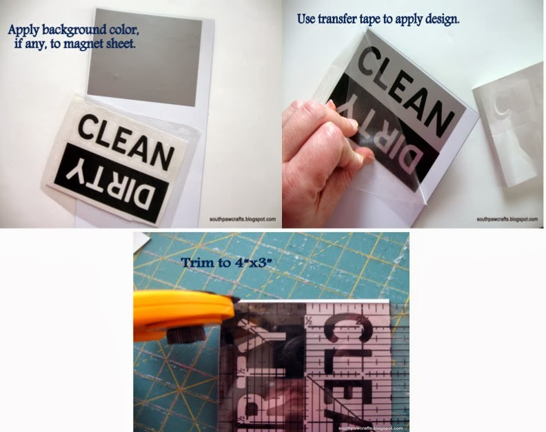 Dishwasher magnets, DIY, do it yourself, Silhouette tutorial, Silhouette Studio, dirty, clean
