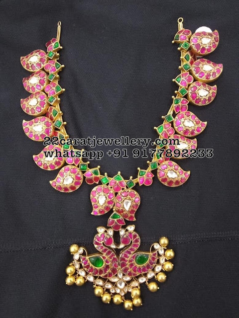 92.5 Silver Kundan Mango and Floral Necklaces