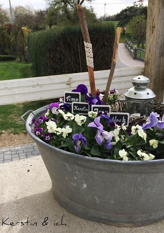 Blechwanne Blumen Deko