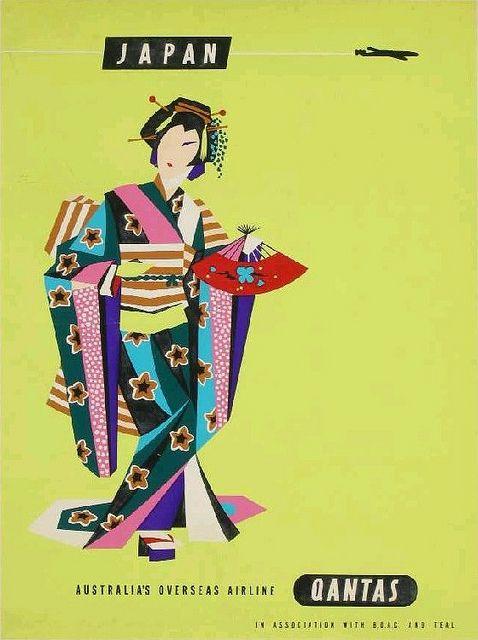 Quantas - Japan Vintage Travel Poster