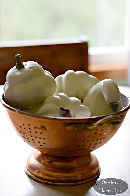 White Pumpkins in a Copper Colander - One Mile Home Style Fall Home Tour