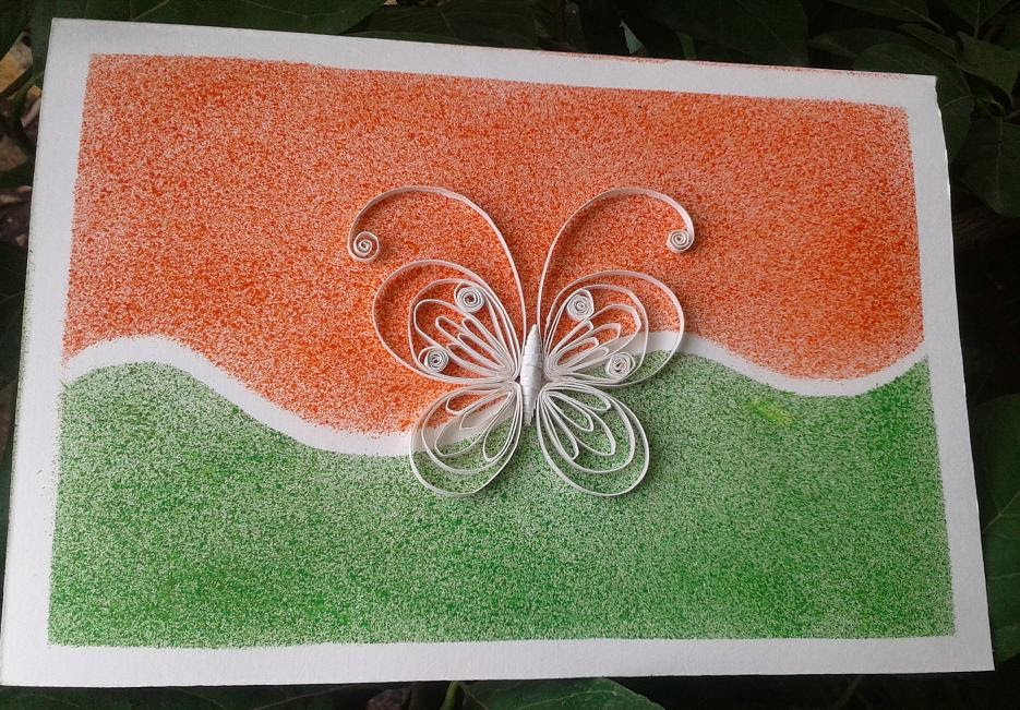 Reusing ,cards  Quilling  Happy Independence Day !