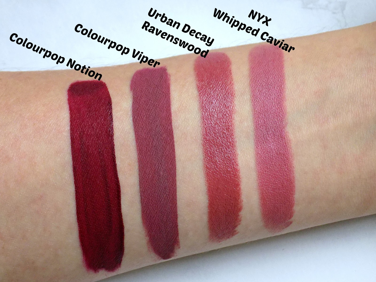 Colourpop Notion, Colourpop Viper, Urban Decay Ravenswood