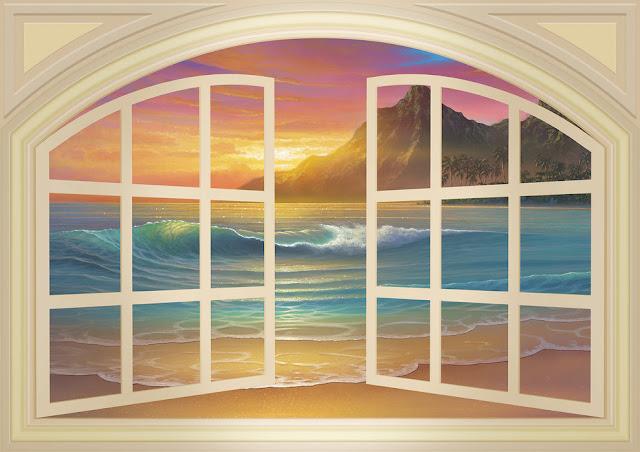 Ikkuna tapetti maisematapetti 3d luonto ranta meri