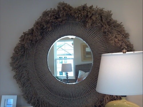 Jute framed mirror