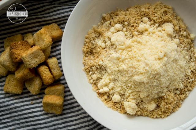 ground together seasoned bread crumbs and Parmesan cheese to make the topping