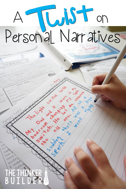 A fun way to take personal narrative writing to a different level. Blog post explanation with free download from The Thinker Builder.