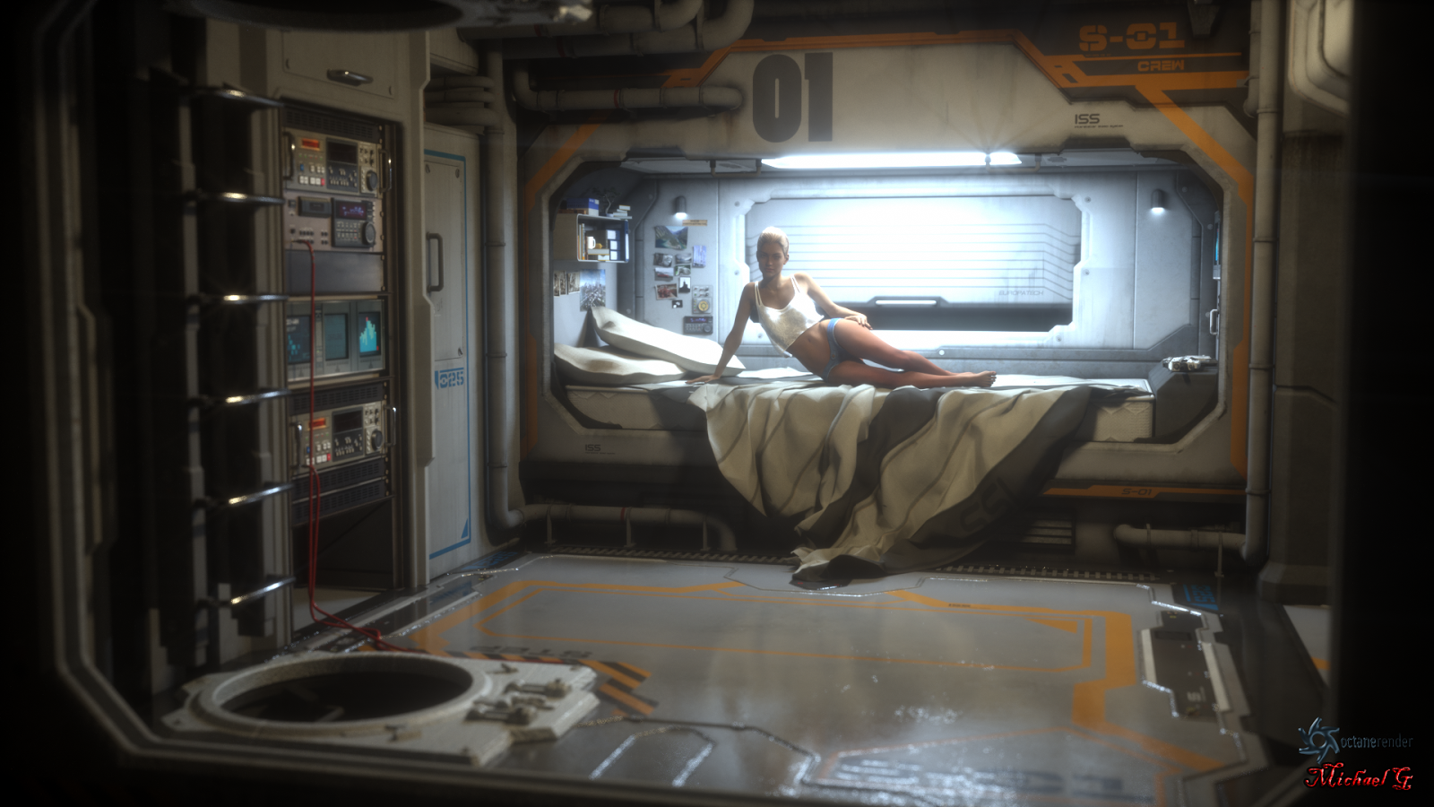 Woman in Mars base bedroom by Michael Gibson
