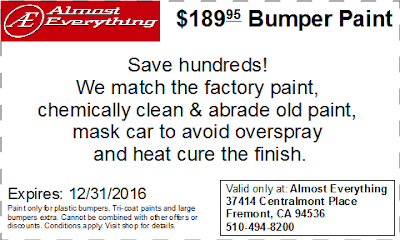 Discount Coupon $189.95 Bumper Paint Sale December 2016