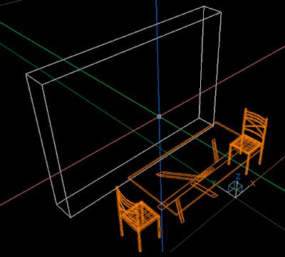 il modello 3d: un tavolo, 2 sedie ed un parallelepipedo per simulare l'ingombro della libreria
