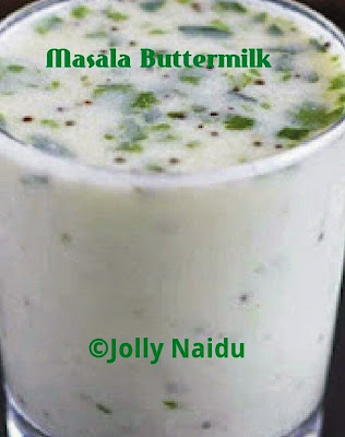 Buttermilk mixed with green raw spices