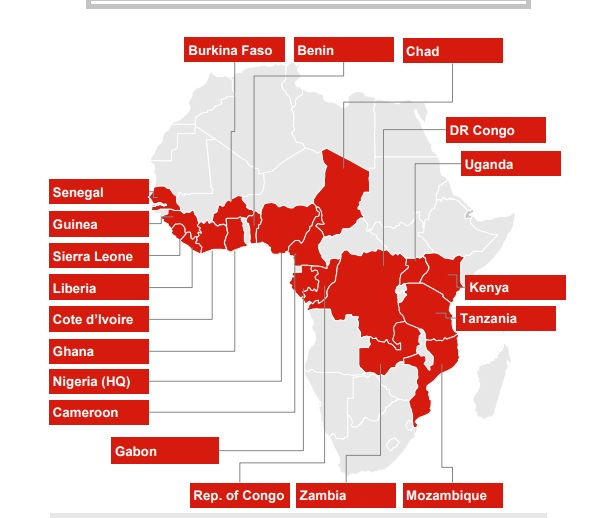 United Bank for Africa locations in Africa