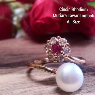 Cincin Rhodium Mutiara Tawar Asli Lombok