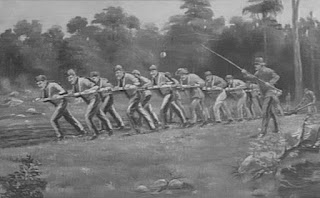 A painting of a dozen men in uniform pulling a plough, supervised by another man with some kind of stick or weapon