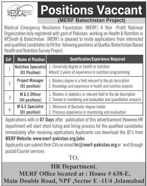 Medical Emergency Resilience Foundation MERF Project Jobs