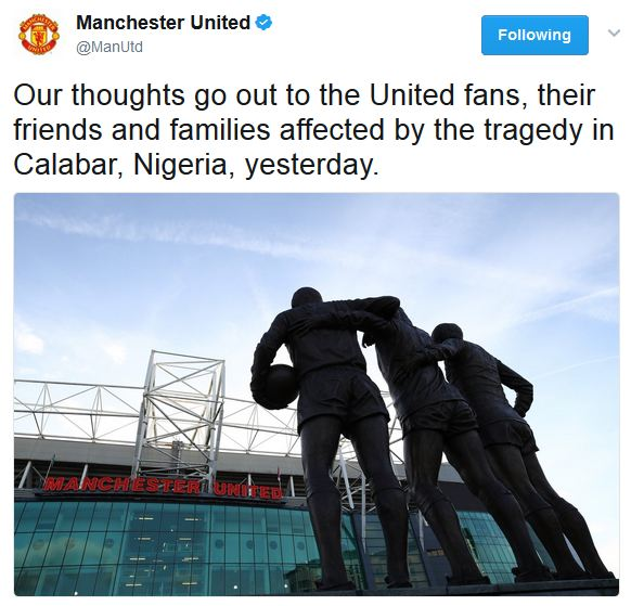 Manchester United React Over The Football Viewing Center Tragedy In Calabar (Photo)