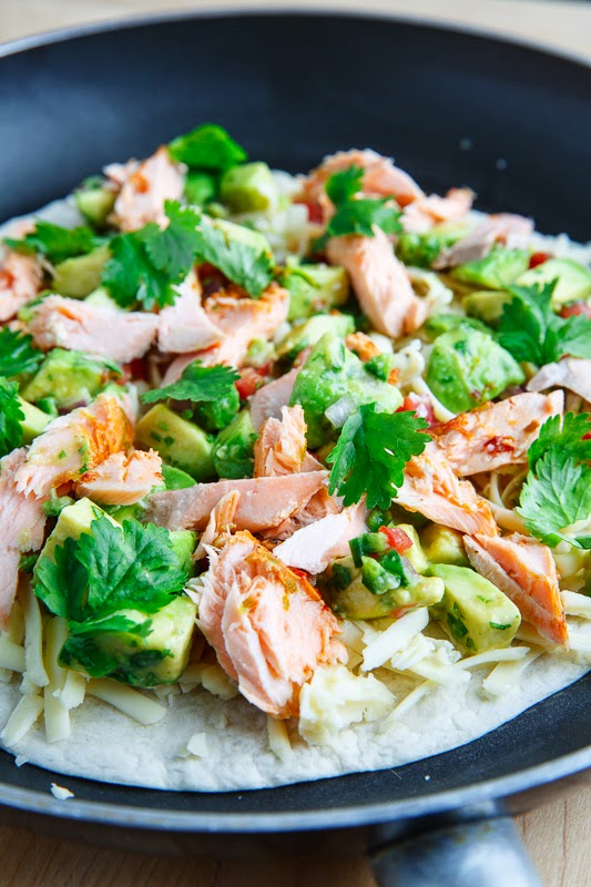 Chipotle Lime Salmon and Avocado Salsa Quesadillas
