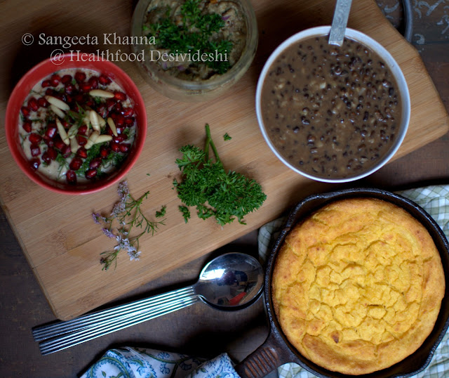 corn bread, dip and kali dal