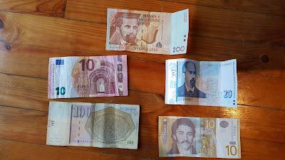 Traveling between countries requires different currencies  (the Euro, Serbian dinar, Albanian lek, Bulgarian lev, and Macedonian/FYROM denar)