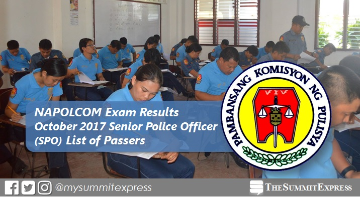 Senior Police Officer SPO Passers: October 2017 NAPOLCOM Exam Results