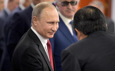 Vladimir Putin at the meeting with heads of major foreign companies.