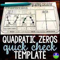 Quadratic Zeros Quick-Check Templat