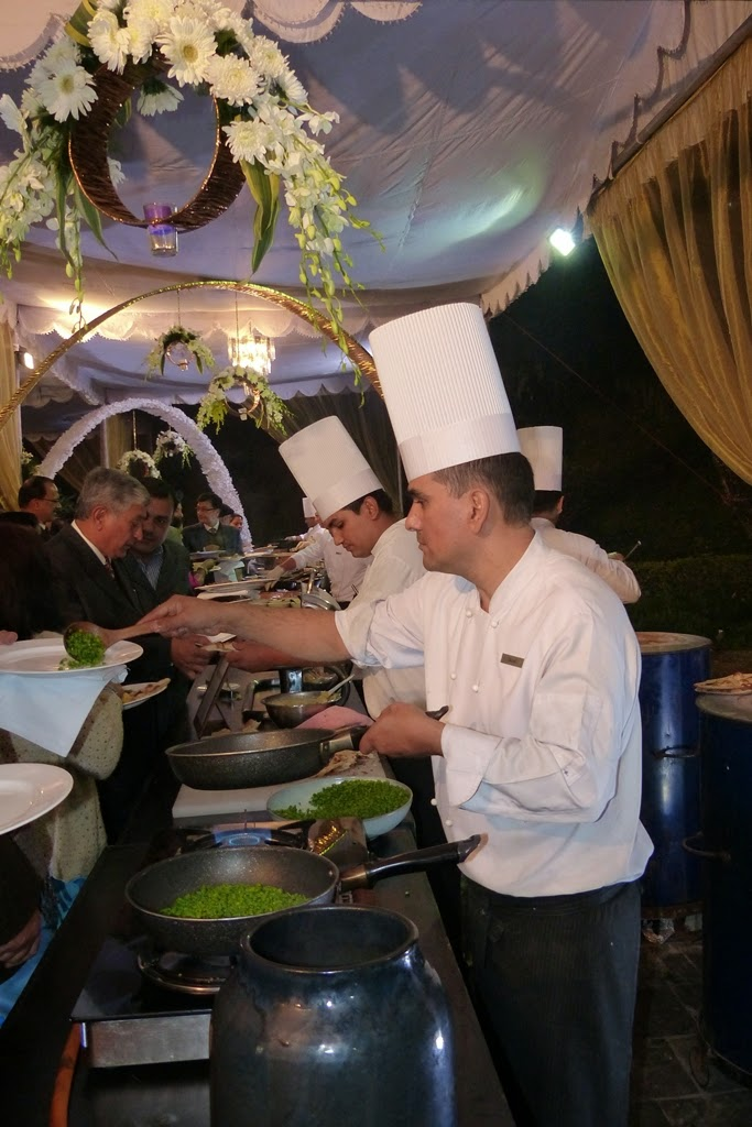 Chefs serving food