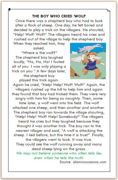 dongeng bahasa inggris penggembala yang suka berbohong