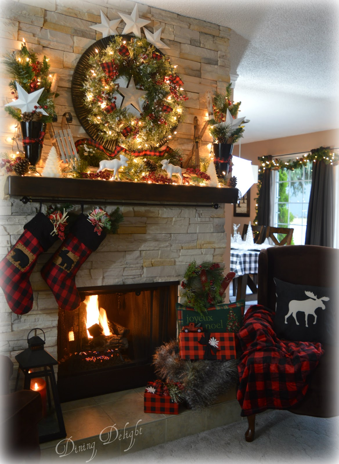 Dining Delight: Canadian Cabin Christmas Mantel
