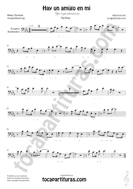 Trombón y Bombardino Partitura de Hay un amigo en mi Sheet Music for Trombone, Euphonium Music Score