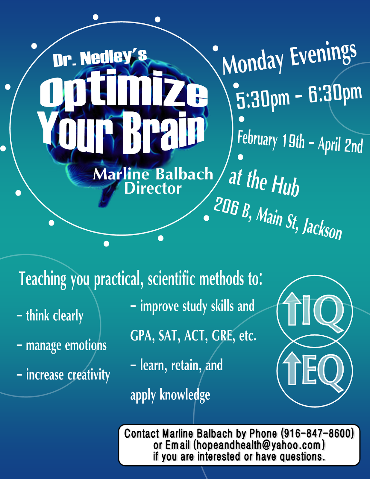 Optimize Your Brain - Mondays beginning Feb 19