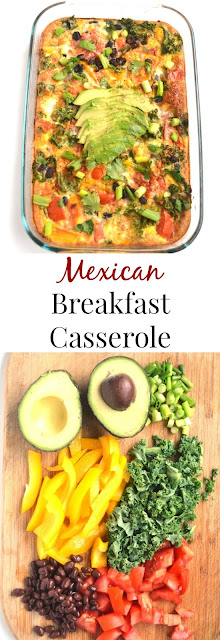 This Mexican Breakfast Casserole is simple to make and is full of flavor with black beans, salsa, bell peppers, avocado and cilantro! www.nutritionistreviews.com #eggs #mexican #eggbake #healthy #mealprep #cleaneating