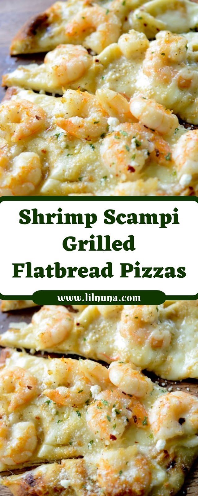 Shrimp Scampi Grilled Flatbread Pizzas