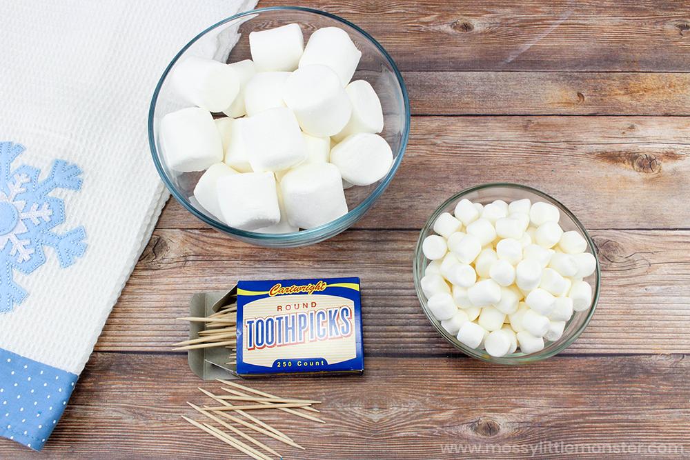 Marshmallow snowflakes. Fine motor skills activites
