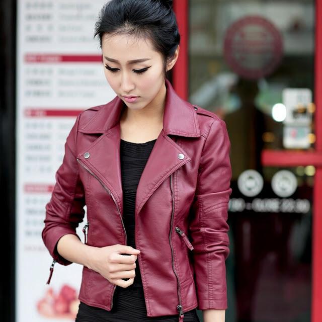 Model Jaket Kulit Wanita Warna Merah Hati Tanah Abang