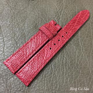 dây đồng hồ nữ da đà điểu hồng