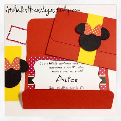 convite artesanal aniversário infantil personalizados minnie mouse disney vermelho