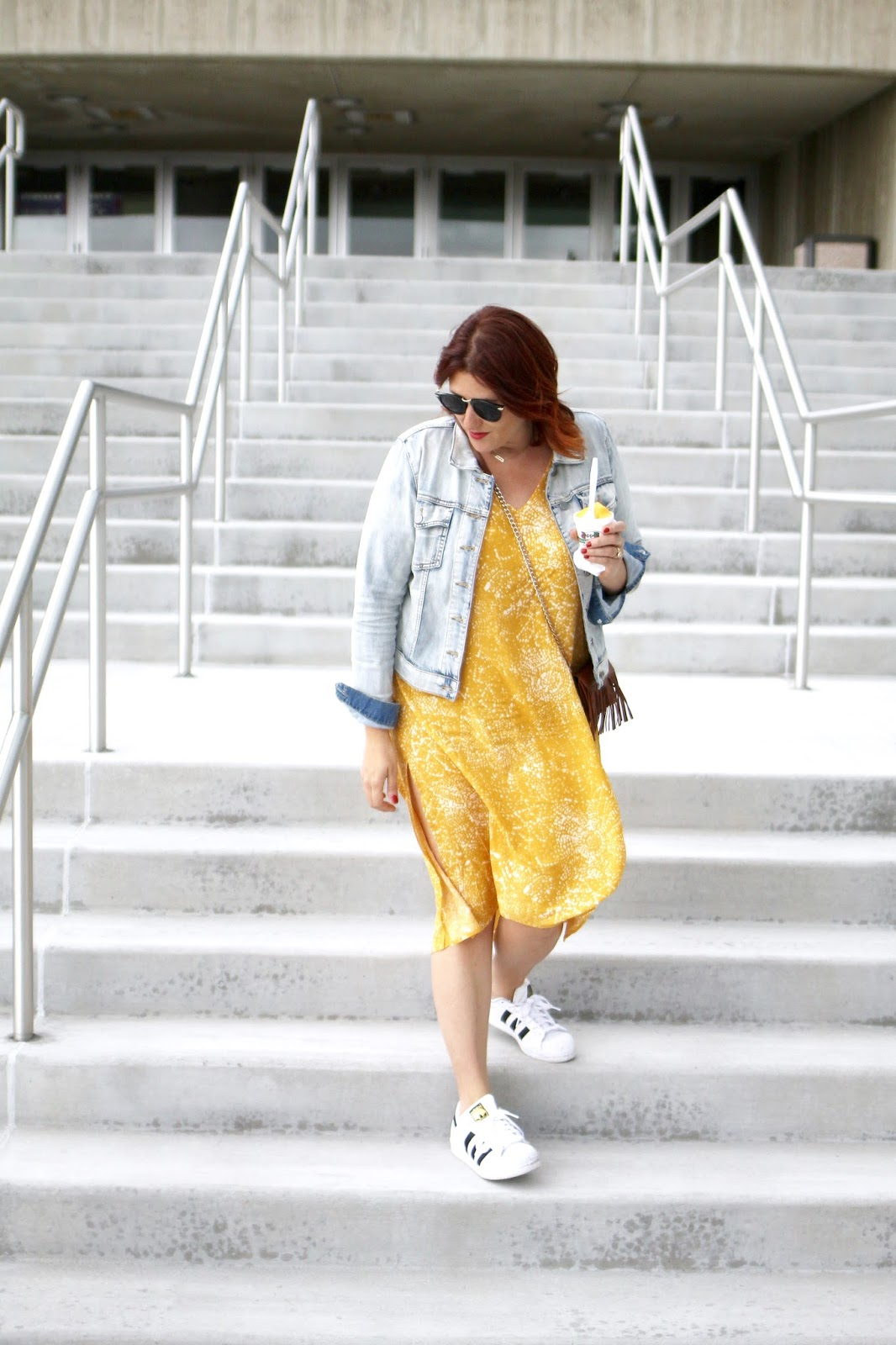 pregnancy style, cute maternity outfit, cheap affordable dress, baggy, adidas with a dress, red hair, blogger style, jean jacket