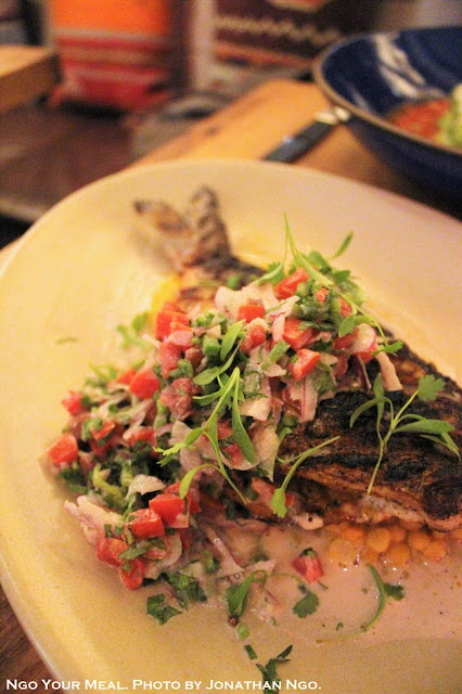 Whole Daily Fish: Grecian Dorade, Chana Dal Indian Yellow Lentil, Ajwain, Charred Garlic Yogurt Pico De Gallo at Covina