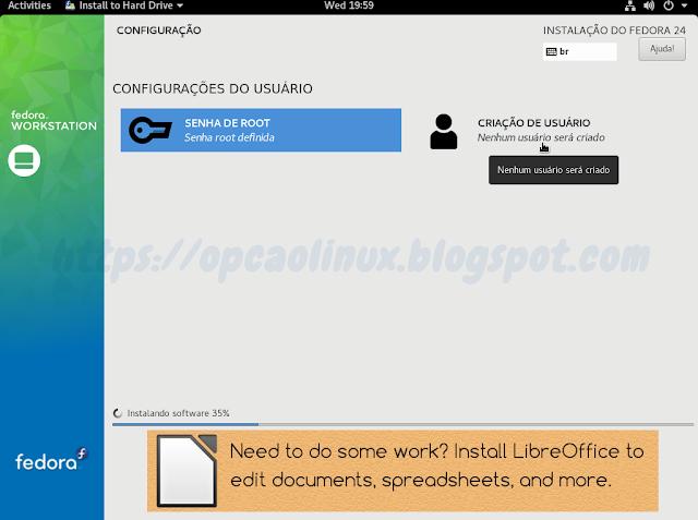 Clique em Criação de Usuário