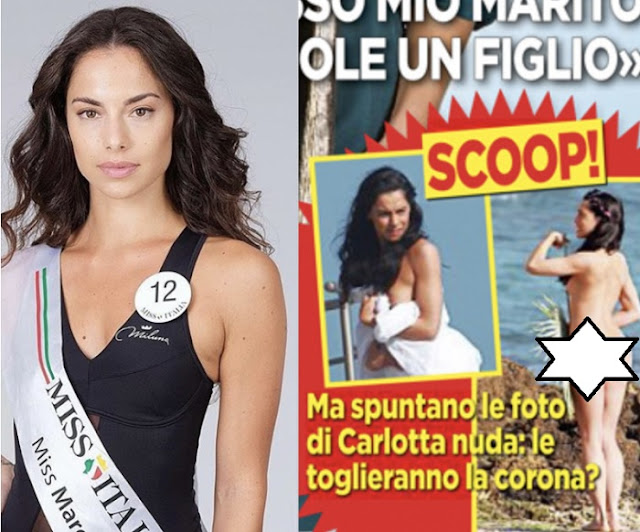 Miss Italia 2018 risks the title, as she's photographed with only some palm leaves on her body