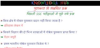 पुरस्कार से संबधित प्रश्न पिछली SSC परीक्षाओं में पूछे गये प्रश्न