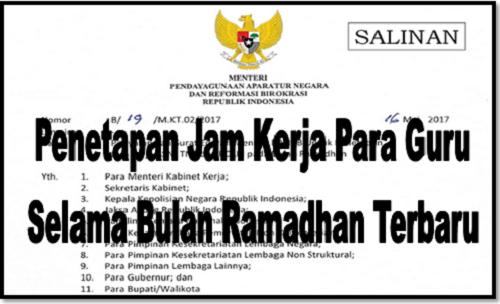Penetapan Jam Kerja Para Guru Selama Bulan Ramadhan Terbaru