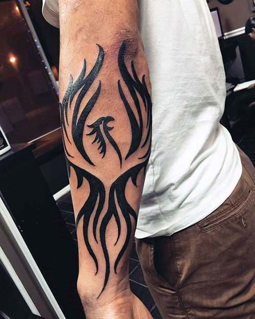 forearm tribal phoenix tattoo tribal kol anka kuşu dövmesi