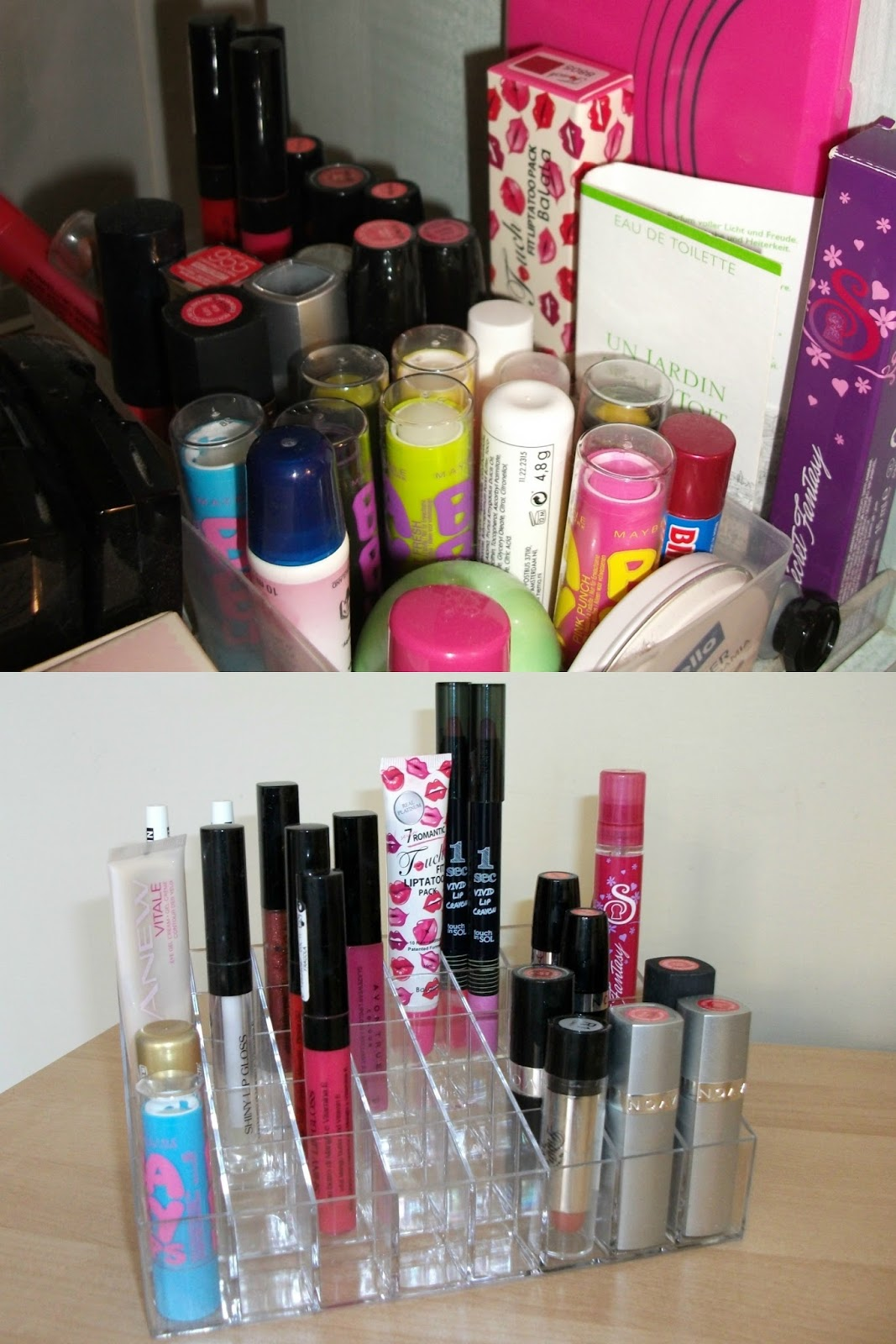 Valentina Chirico's beauty station before and after/ DIY versus make-up organizer