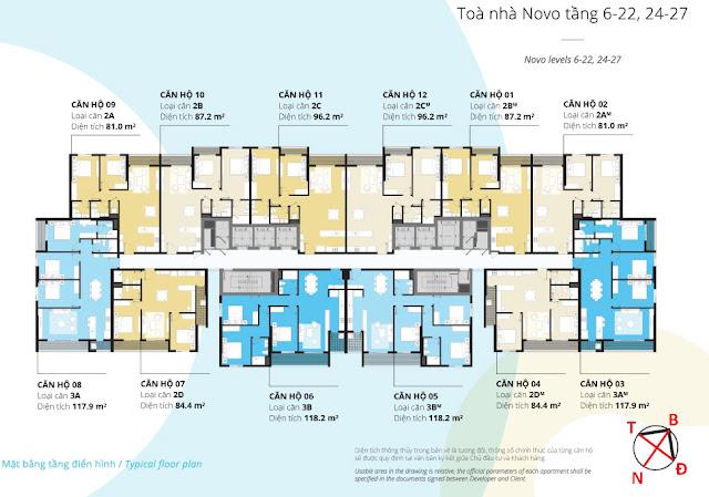 Mặt bằng tầng 06 - 27 tòa NOVO dự án Kosmo Tây Hồ