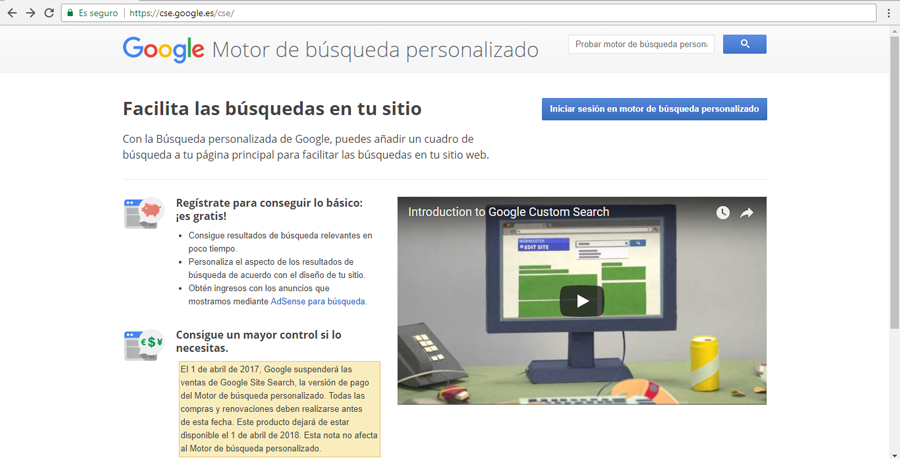Pantalla de inicio de Google Custom Search