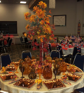 harvest tea hostess table decorations